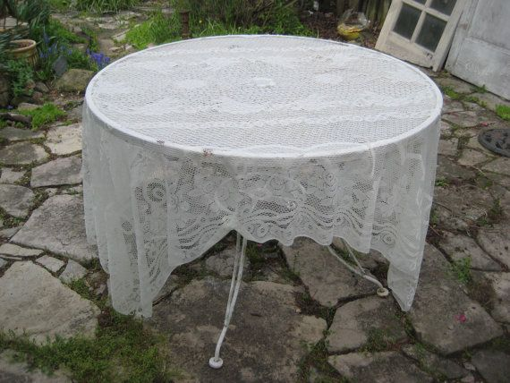 Cream lace tablecloth, rectangle oblong tablecloth, ivory wedding tablecloth, french farmhouse, shabby chic decor, 60 x 90