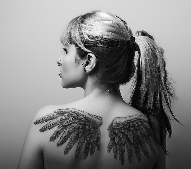 wings, feathers. love itTattoo Ideas, Piercing, Body Art, Back Tattoo, A Tattoo, Angels Wings, Wings Tattoo, Ink, Tattoo Culture