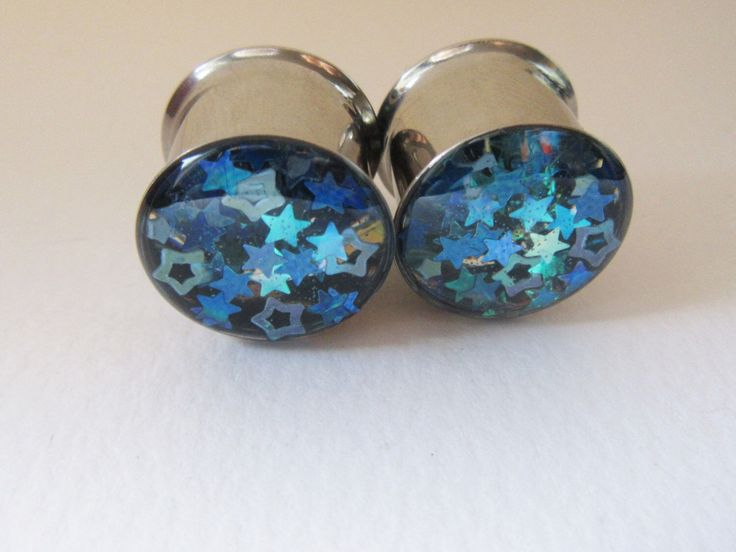 "Plugs Ear Tunnel Blue Star Girly Sparkly Iridescent Gauges Holographic Reflective 14mm 9/16"" Winter Ear Tunnels by HandmadeAt62 on Etsy https://www.etsy.com/listing/252935135/plugs-ear-tunnel-blue-star-girly-sparkly"