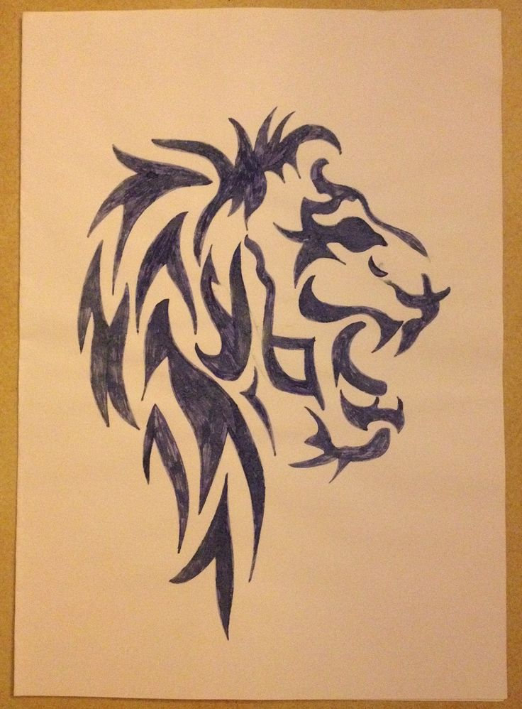 Tribal drawing ~ lion, king -Coline210