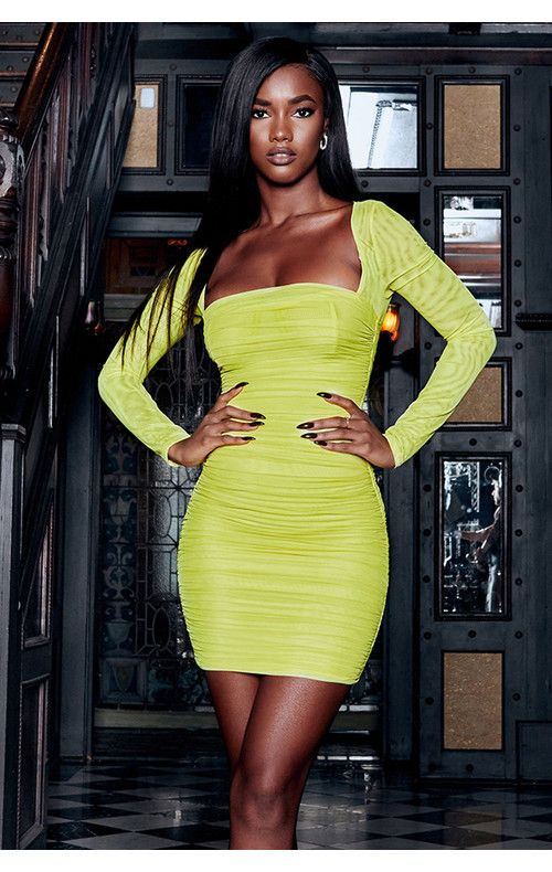 3bd5a6ca9 Clothing : Bodycon Dresses : 'Valentina' Chartreuse Long Sleeved Ruched  Organza Mesh Dress