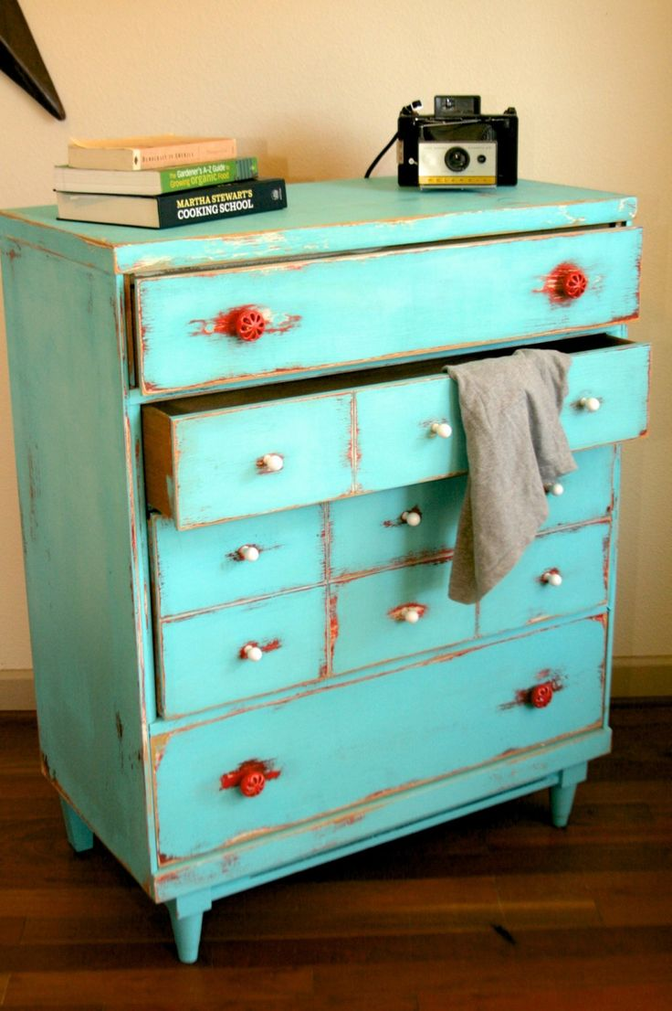 Shabby Chic Distressed Vintage Dresser Teal/Red/White - Free delivery in Austin, TX and surrounding areas. $250.00, via Etsy.