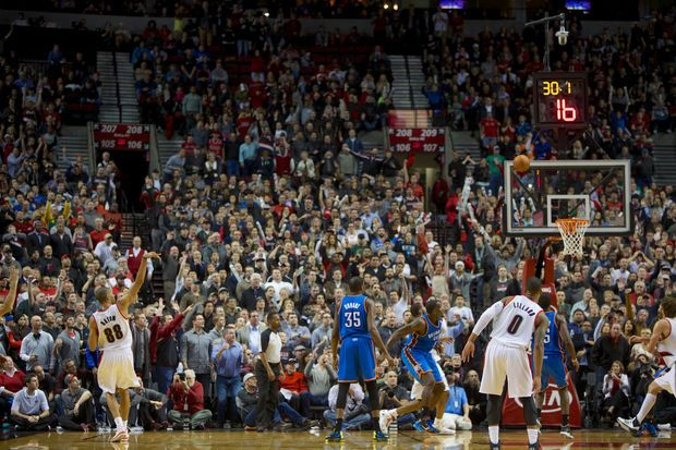 Nicolas Batum hits a three-pointer that gives the Blazers a four-point lead in the final minute of their 111-104 victory over the Oklahoma City Thunder.