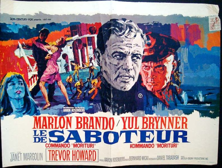 Morituri Belgian movie poster. Art by Ray (Raymond Elseviers). Marlon Brando. Yul Brynner