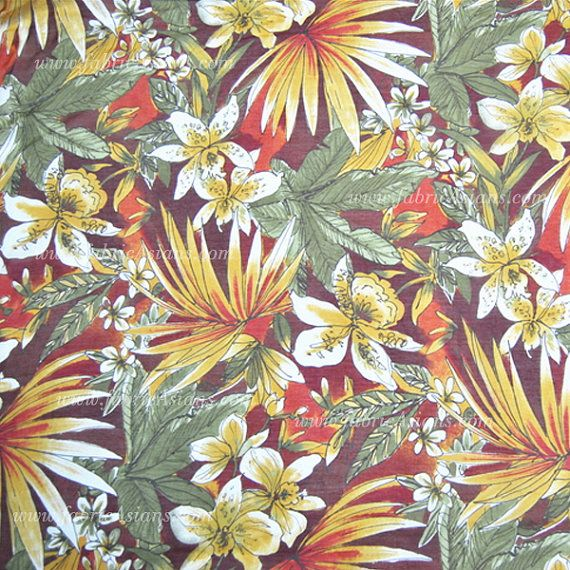 Hawaiian Prints Silk Cotton Fabric. Multi-colour by fabricAsians