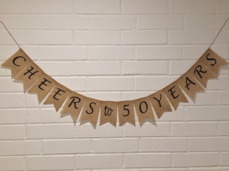 Anniversary Burlap Banner, Cheers to 50 Years, 50th BIRTHDAY Burlap Banner, 40th Birthday, 40th Anniversary, 30th Birthday, 30th Anniversary by AlohaInspired on Etsy https://www.etsy.com/listing/224561093/anniversary-burlap-banner-cheers-to-50