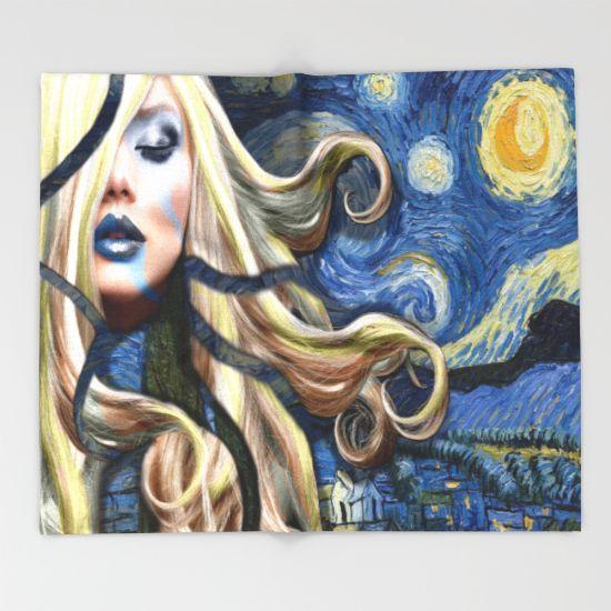 Van Gogh A Starry Night Throw Blanket by Müge Başak - $49.00