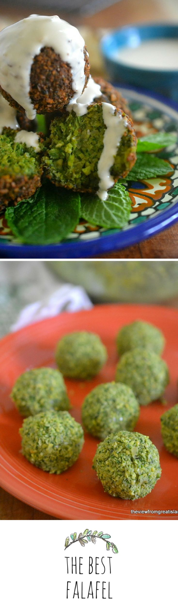This falafel is a gorgeous emerald green on the inside!
