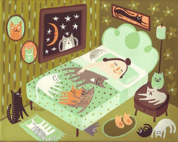 Cat Art Print - Cat Lady Sleeping In Bedroom - Funny Whimsical Folk Artwork…