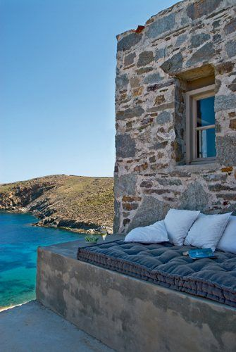 AN ISLAND RETREAT in SERIFOS, GREECE  ...the big blue of Serifos island and a house on the rocks by the architect Giorgos Zafeiriou.