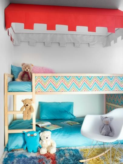 bunk bed upgrade -- add fabric panels and a canopy!  this is exactly mira's bed!!  nice ideas!
