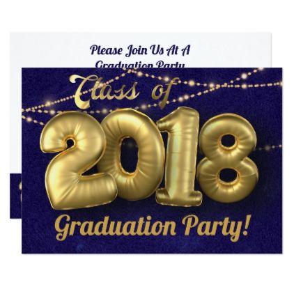 class of 2018 gold balloon graduation celebration invitation in 2018