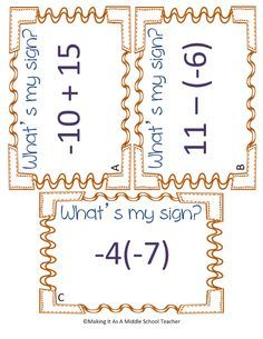 Making It As A Middle School Teacher: Math Game Monday ~ What's My Sign? I think this would be a great beginning of the year activity as a review of integer operations.