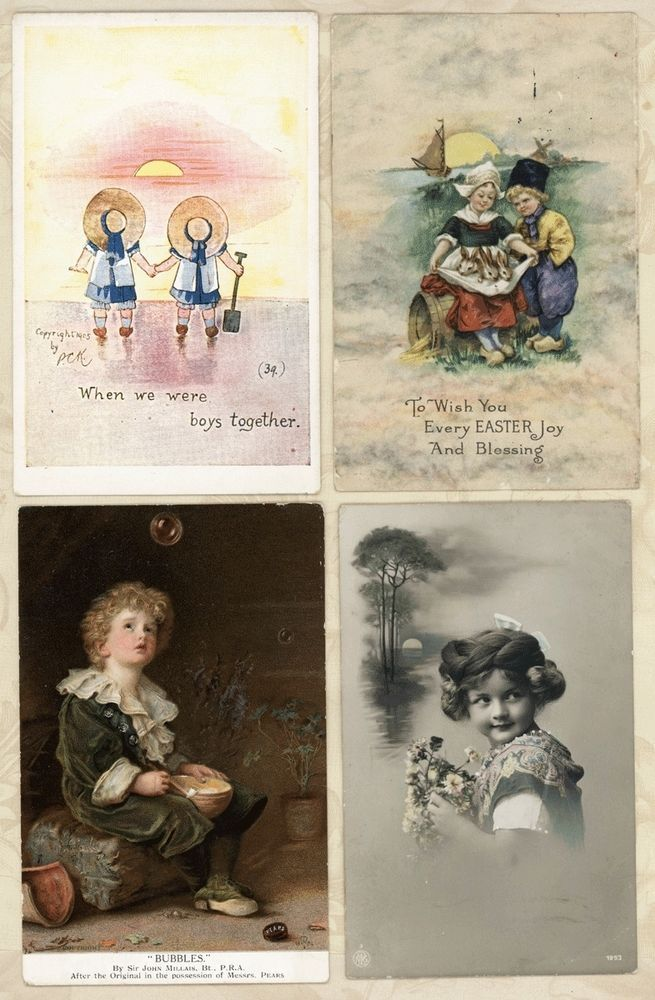 Lot 4 Cute Children Sunset Beach Bubble Boy Vtg Antique Postcards