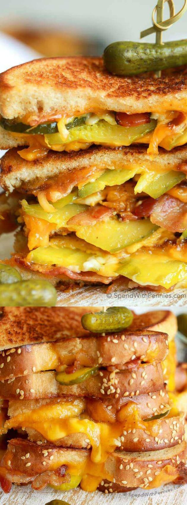 This Dill Pickle Bacon Grilled Cheese recipe from Holly over at Spend with Pennies is seriously the ULTIMATE comfort food!