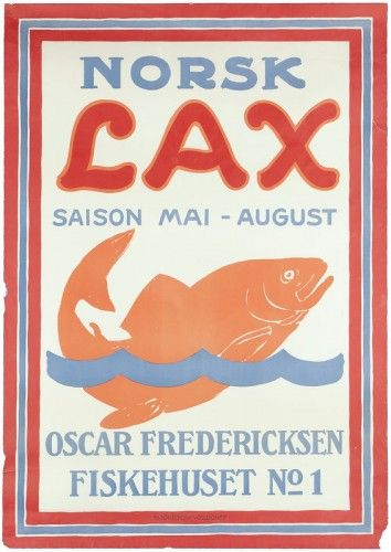 Henry Sotheran's  LUND, Aage (1892-1972). Norsk Lax (Norwegian Salmon). Original lithograph with colour as published by Oscar Fredericksen, Fiskehuset No 1, Denmark, c.1910. 850 x 600 mm.  Corner of margin to lower right is missing. Small tears to upper right and lower left margins, not effecting the overall look of the poster which is very good. This poster has probably never been hung. This print is included in catalogue — Vintage Travel Posters
