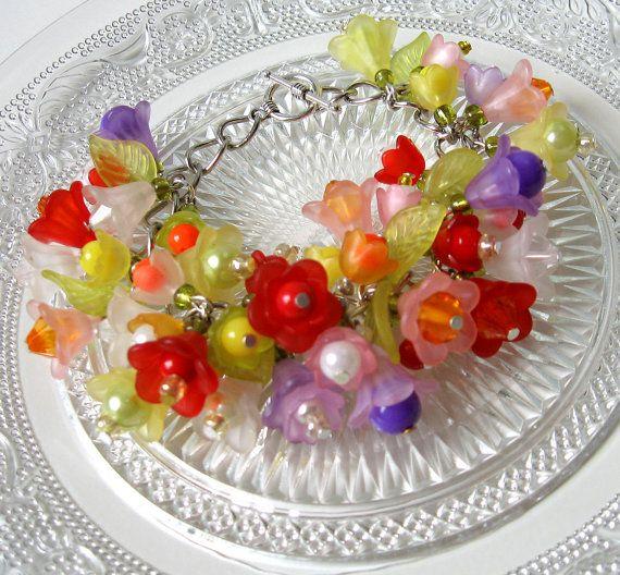 Cha-Cha Flower Bracelet Shabby Chic Style; Charm Bracelet