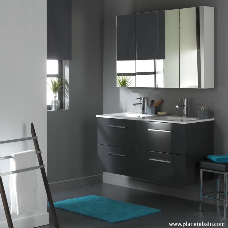 Un meuble double vasque pour se préparer le matin en famille !  #grandmeuble #meublenoir