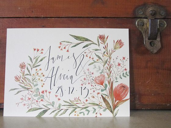 wedding invitation native australian - Google Search