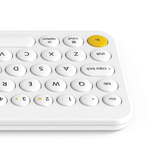 Keyboard, buttons, plastic, white, yellow, matte