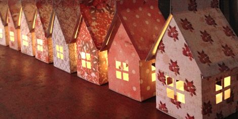 templates for house luminaries.  Instructions for a mobile is also included.