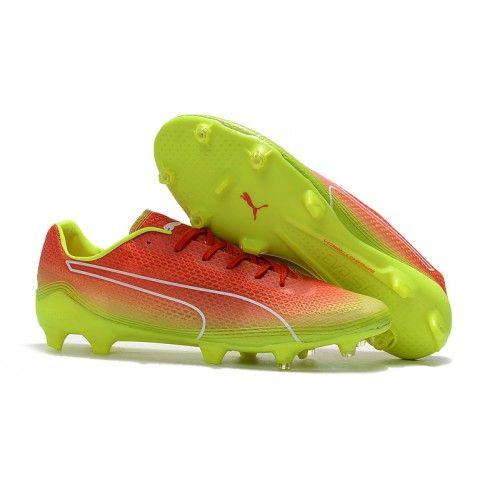 2017 Puma evoSPEED Fresh FG Botas De Futbol Rojo Fluo Verde