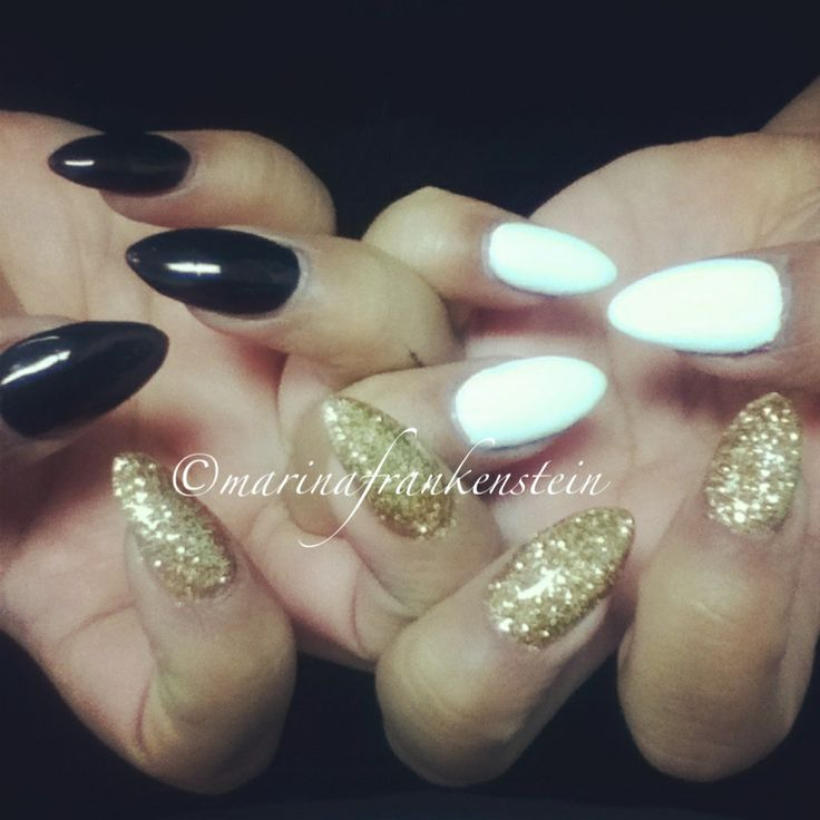 black white gold almond nails beauty amp hair amp nails
