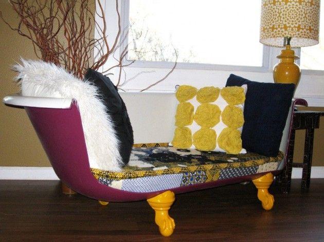 Make chic sofa for your living room - 13 DIY Repurposed Bathtubs