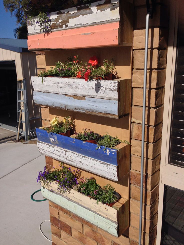 Vertical garden with old weatherboards.