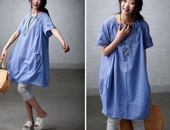 6-colors Loose Fitting Soft Cotton Long Shirt Blouse for Women Short Sleeved Women Clothing / Summer maxi dress qz90