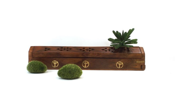 vintage 80s wood incense box holder hinged lid cutout design inlay brass details upside down peace sign global unity boho hippie coffin long by RecycleBuyVintage on Etsy