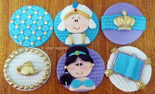 L com Açucar: Cupcake princesa Jasmine , maçã princesa Jasmine , pirulito princesa Jasmine, doce modelado princesa Jasmine ( L com açucar )