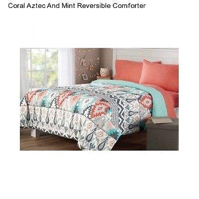 New Mint Coral Aztec Twin / Twin XL Size Comforter Reversible Bedding Bedspread