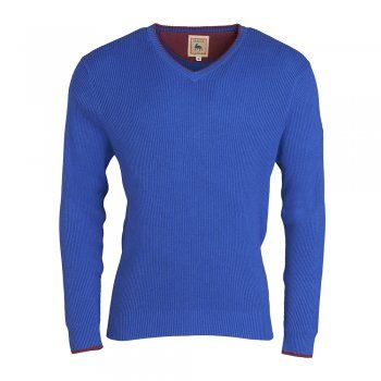 A beautifully tailored cobalt blue cotton rib v neck jumper. Perfect for layering over shirts/t shirts and under casual coats or jackets. Pair with our stone chinos and pink and white stripe shirt for the ultimate summer look.