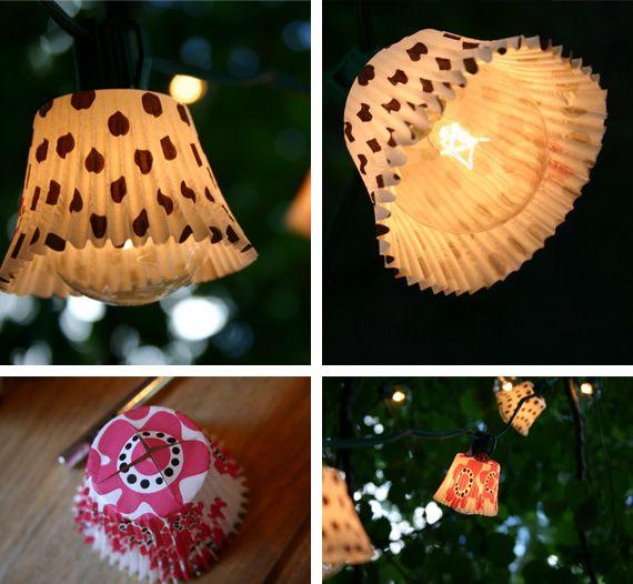 cupcakes lightCupcakes Liner, Lights Shades, Christmas Lights, String Lights, Parties Ideas, Cupcakes Holders, Diy Light, Cupcakes Wrappers, Parties Lights