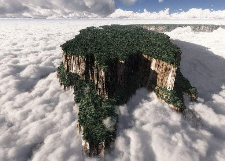 """Tepui, The Table Of The Gods.    The word Tepui comes from the ancient Pemon language, where it means """"house of the gods"""". Largely found in South America, tepuis are mesas that rise abruptly from the jungle and give its visitors spectacular views of the surrounding wildlife. One tepui, Auyantepui, is the source of Angel Falls, the world's tallest waterfall."""