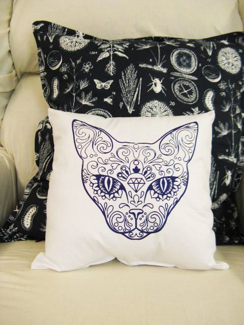 Hey, I found this really awesome Etsy listing at https://www.etsy.com/listing/184748281/sugar-skull-cat-pillow-12x12-pillow
