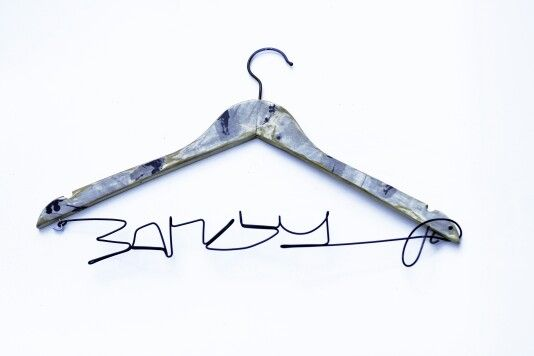BANKSY | wire signature inspired by Banksy's tag | 42 X 20 cm  | printed wood hanger and galvanized wire | contact & sales: artbending@gmail.com