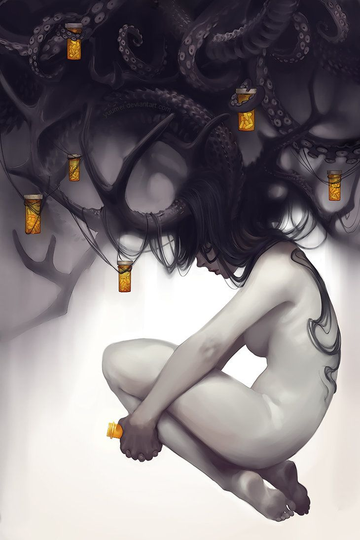 "Dread by yuumei on deviantART  ""Anxiety, depression, and the fear of addiction to pills.  The cure is also the curse."""