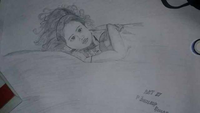 mema: MY PENCIL ART...BABY LYING ON BED