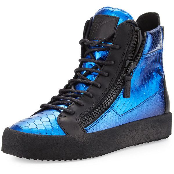 Giuseppe Zanotti Vernice Puffo Snake-Embossed Leather Sneaker ($450) ❤ liked on Polyvore featuring men's fashion, men's shoes, men's sneakers, multi, mens round toe shoes, mens leather shoes, mens lace up shoes, mens platform sneakers and mens platform shoes