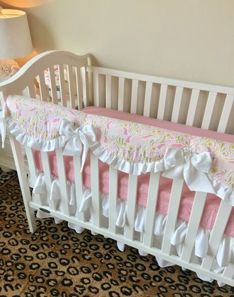 White, Candy Pink, and Fable Unicorns Bumperless Crib Bedding