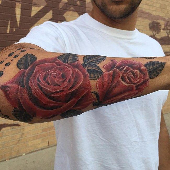 Image Result For Lotus Half Sleeve Forearm Men Rose Tattoos For Men Rose Tattoo Design Tattoos For Guys