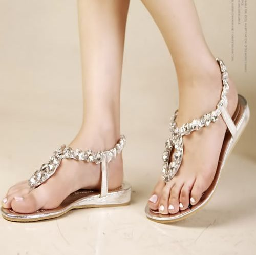 17 best images about wedding shoes on pinterest sparkly for Flat dress sandals for weddings