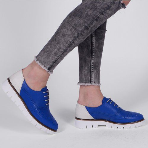 Pantofi Oxford din piele naturala albastri cu alb Tommy