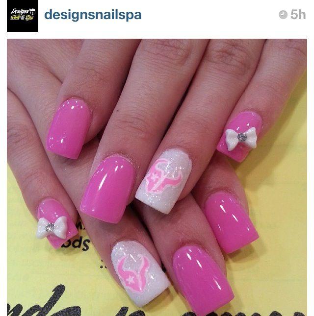 Pink texans nails