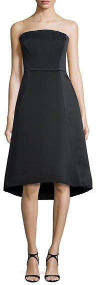 Halston Heritage Strapless Structured Dress Black