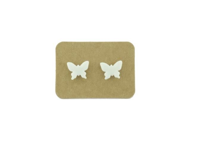 Ceramic Animal Stud Earrings - White Butterfly from Lululoft