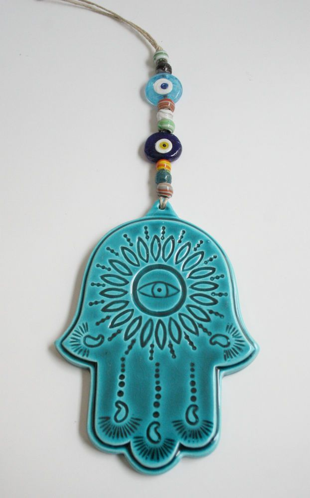 TURKISH CERAMIC TURQUOISE HAND OF FATIMA KHAMSA HAMSA EVIL EYE WALL HANGING