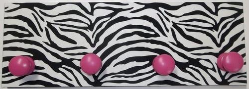 Zebra Stripe Print Black White Hot Pink Coat Rack Hanger Lime Green Wall Decor